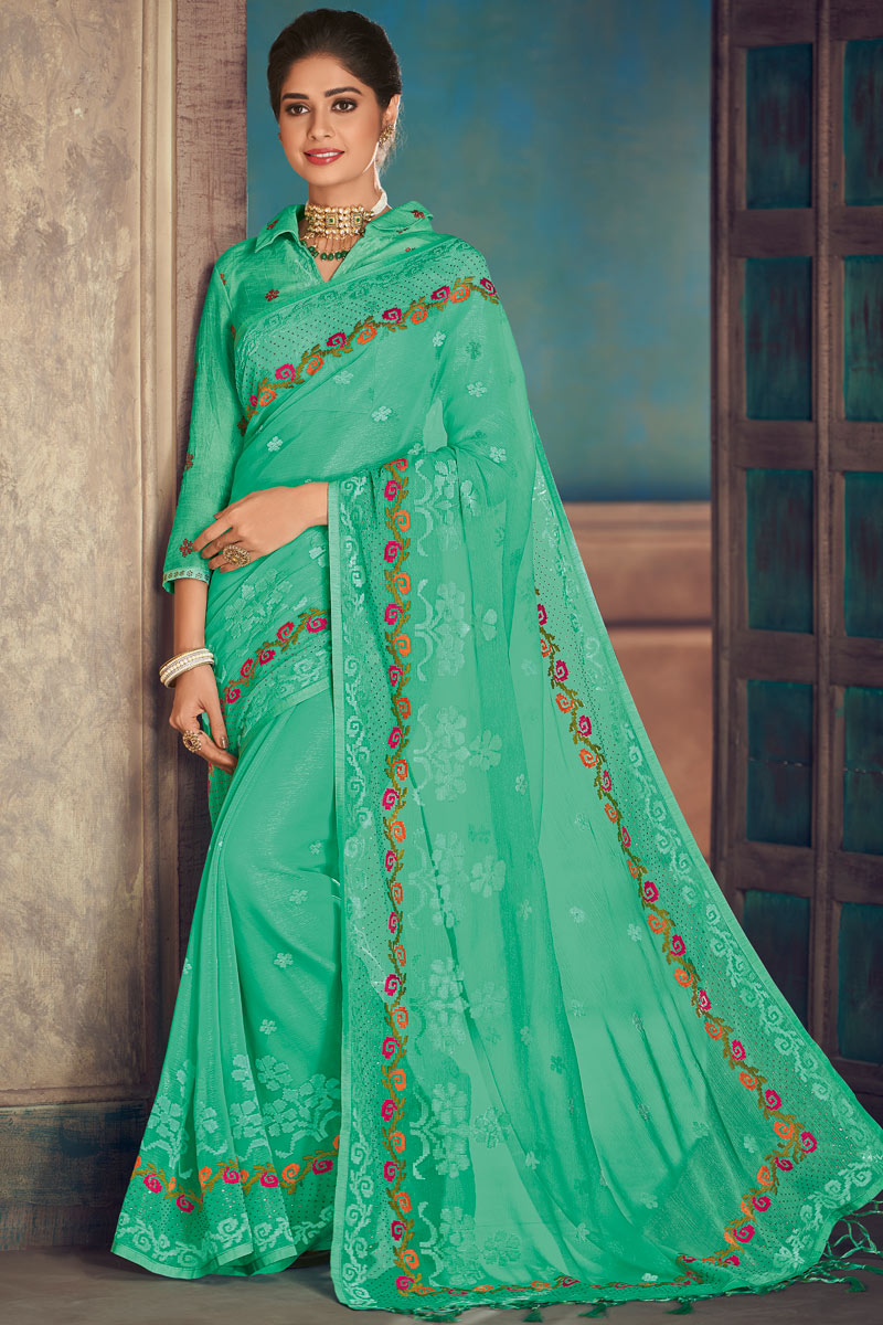 Embroidery Work On Sea Green Color Designer Saree In Chiffon Fabric With Admirable Blouse