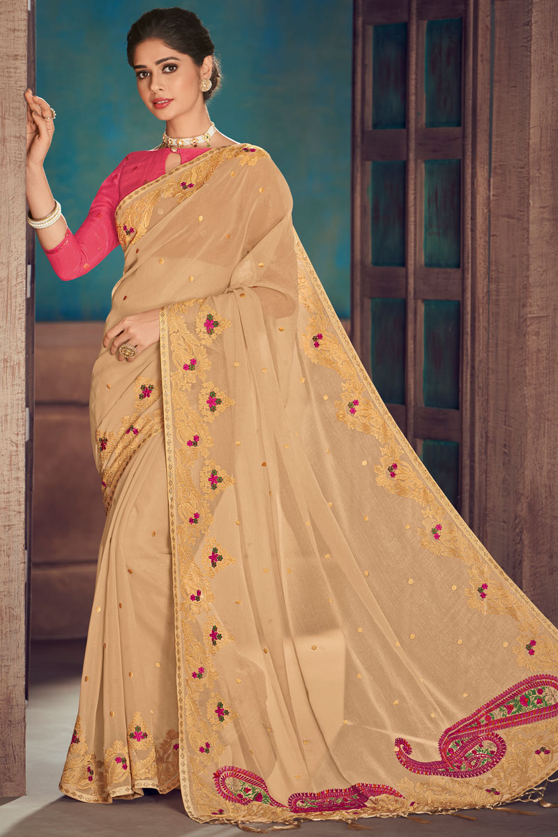 Embroidery Work On Chiffon Fabric Party Wear Saree In Chikoo Color With Beautiful Blouse