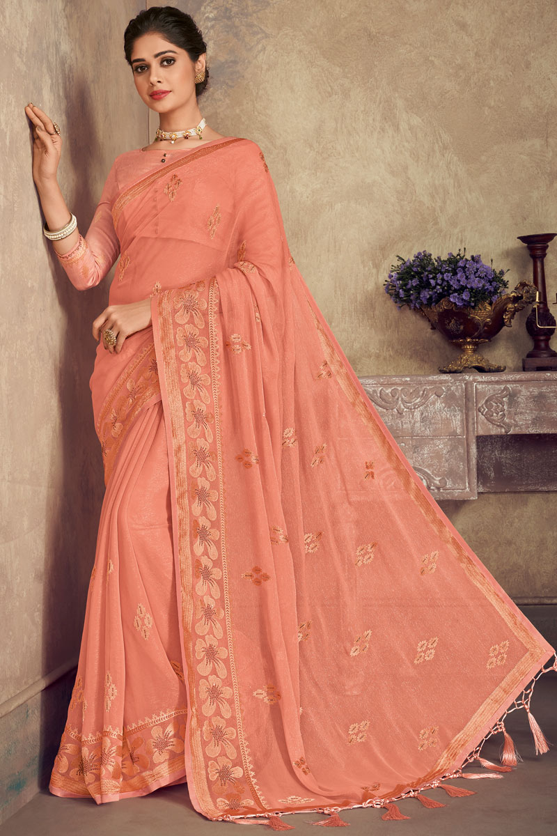 Function Wear Chiffon Fabric Embroidery Work On Saree In Salmon Color With Alluring Blouse