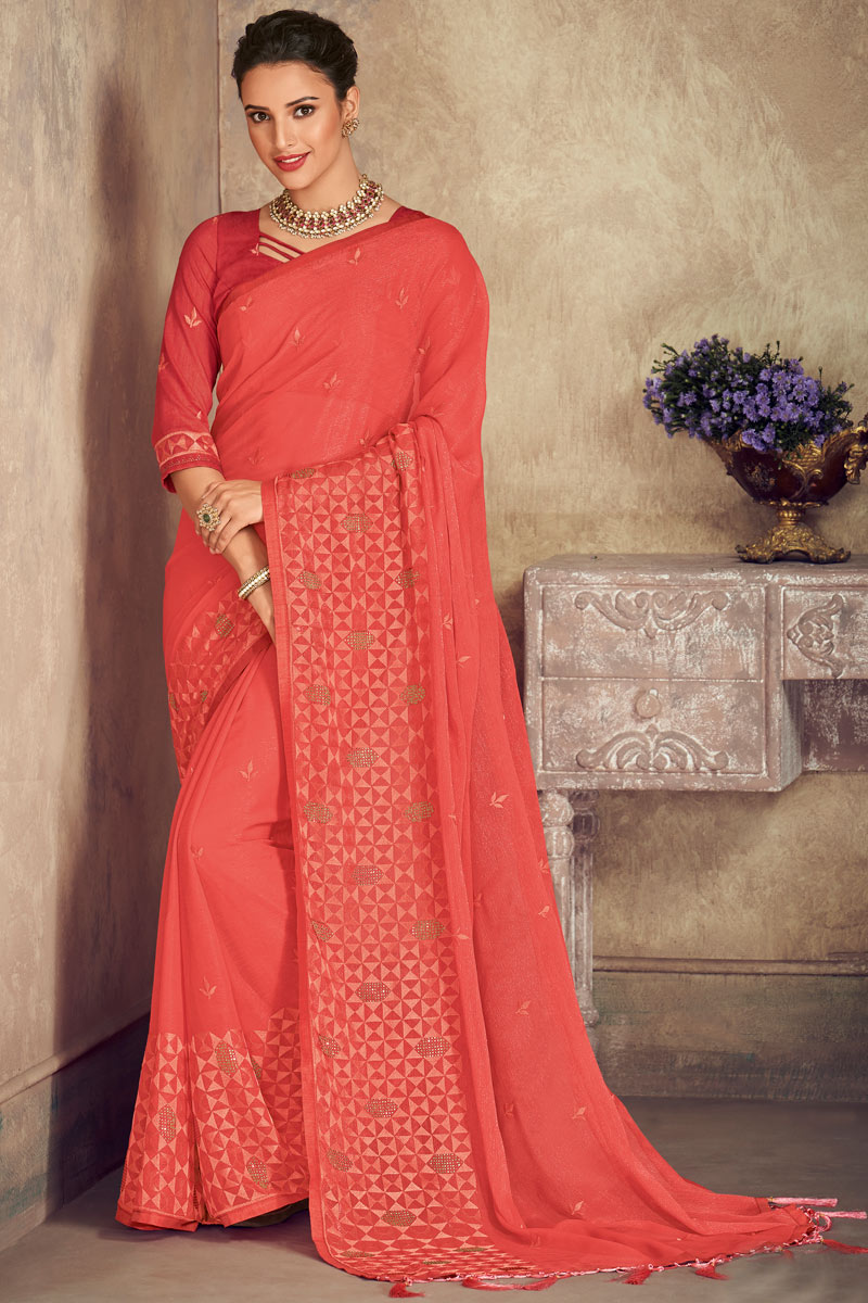 Pink Color Chiffon Fabric Designer Saree With Embroidery Work And Party Wear Blouse