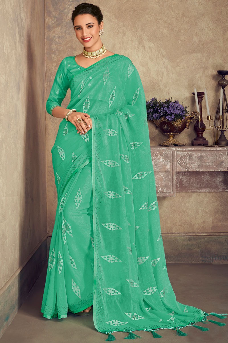 Chiffon Fabric Embroidery Work On Sea Green Color Occasion Wear Saree With Enchanting Blouse