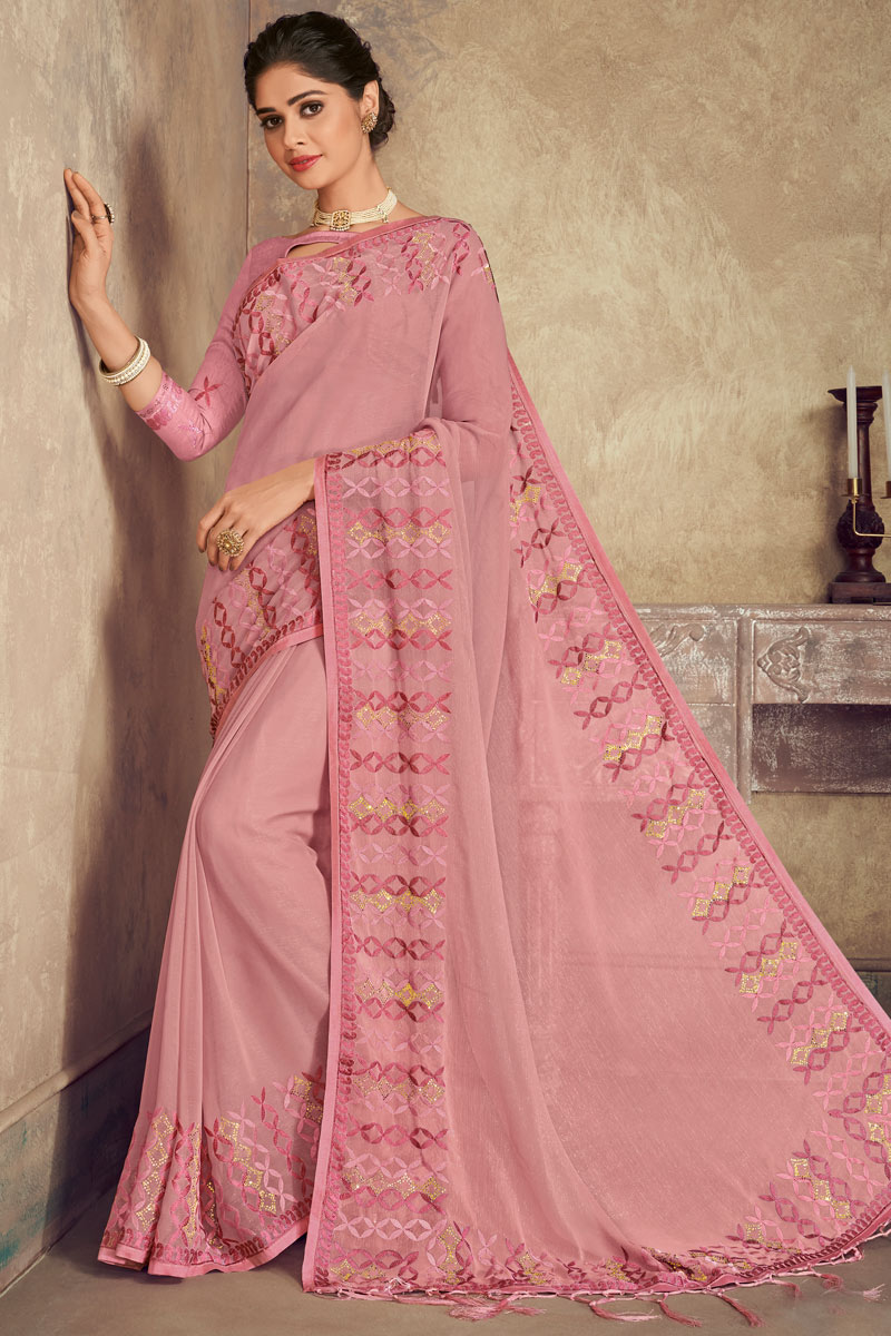 Embroidery Work On Chiffon Fabric Pink Color Function Wear Saree With Party Wear Blouse