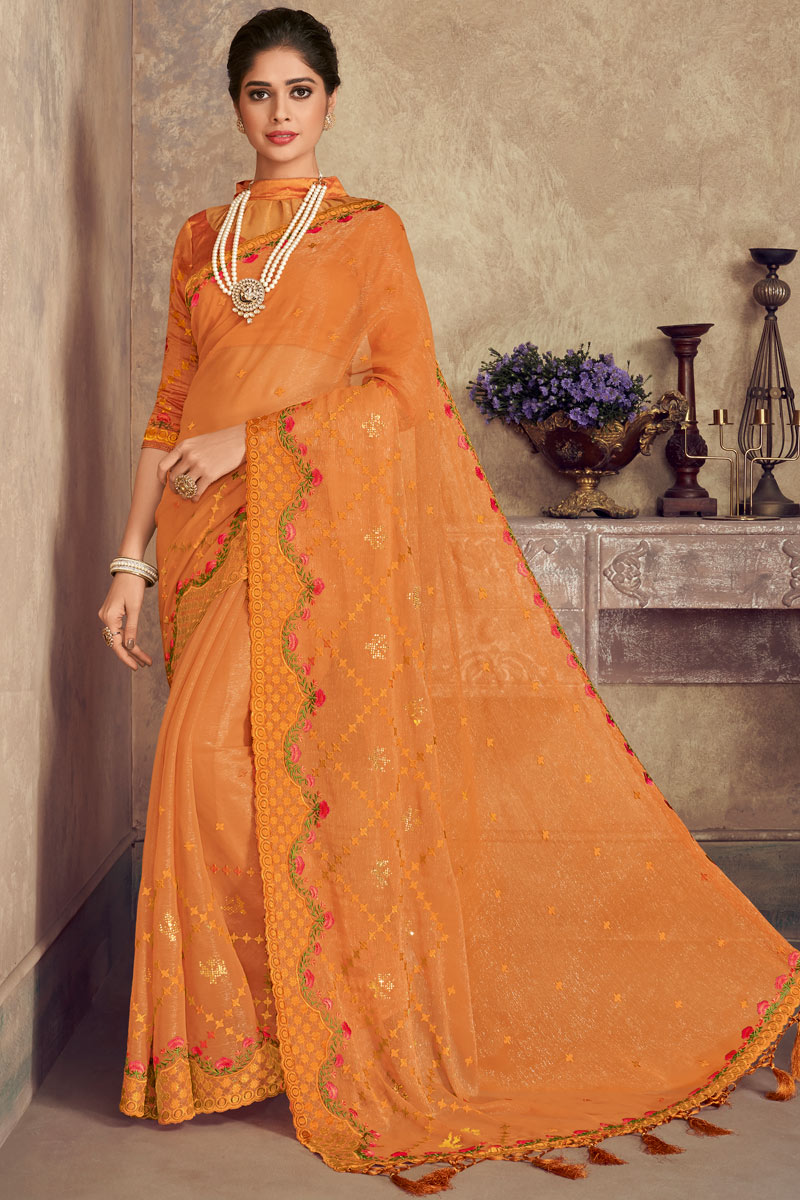 Orange Color Chiffon Fabric Party Wear Saree With Embroidery Work And Enigmatic Blouse