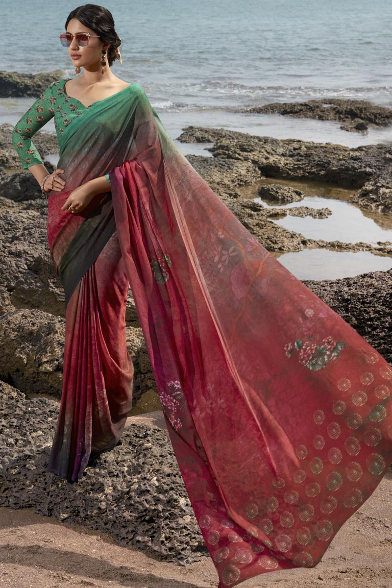 Maroon Color Regular Wear Fancy Printed Saree In Satin Silk Fabric