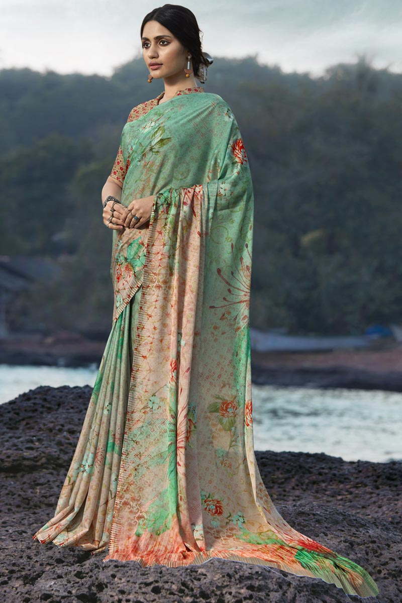 Satin Silk Fabric Regular Wear Fancy Sea Green Color Printed Saree