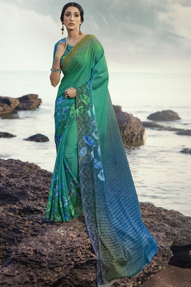 Regular Wear Satin Silk Fabric Fancy Cyan Color Printed Saree