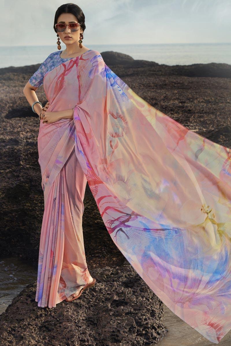 Satin Silk Fabric Regular Wear Fancy Printed Saree In Peach Color