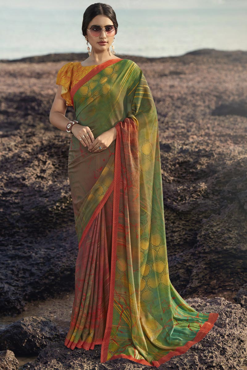 Green Color Fancy Regular Wear Satin Silk Fabric Printed Saree