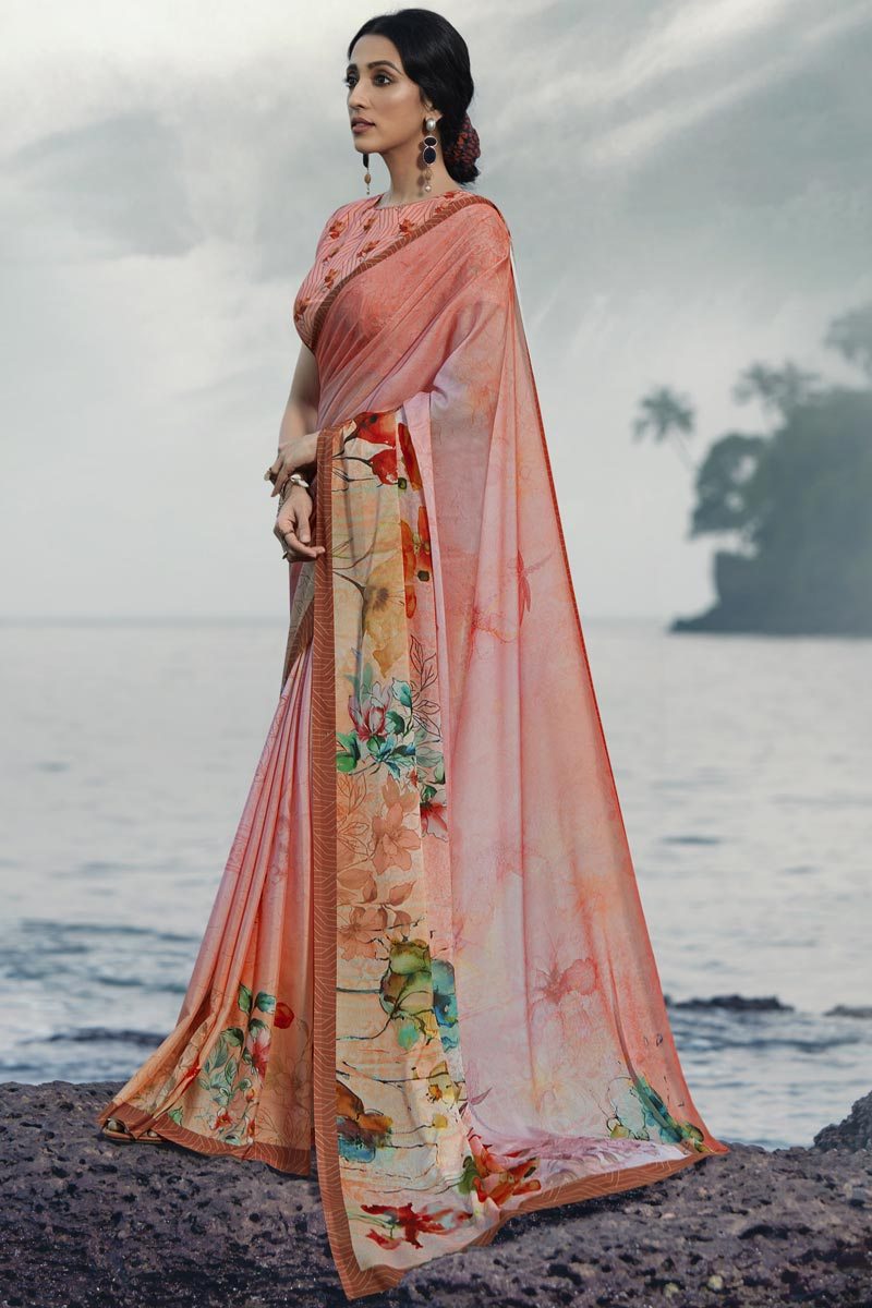 Satin Silk Fabric Regular Wear Peach Color Fancy Printed Saree