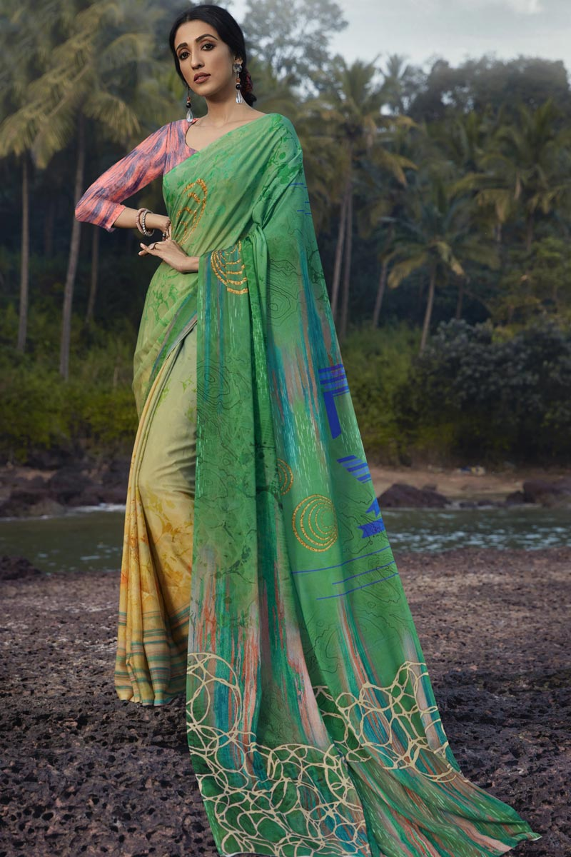 Sea Green Color Regular Wear Fancy Satin Silk Fabric Printed Saree