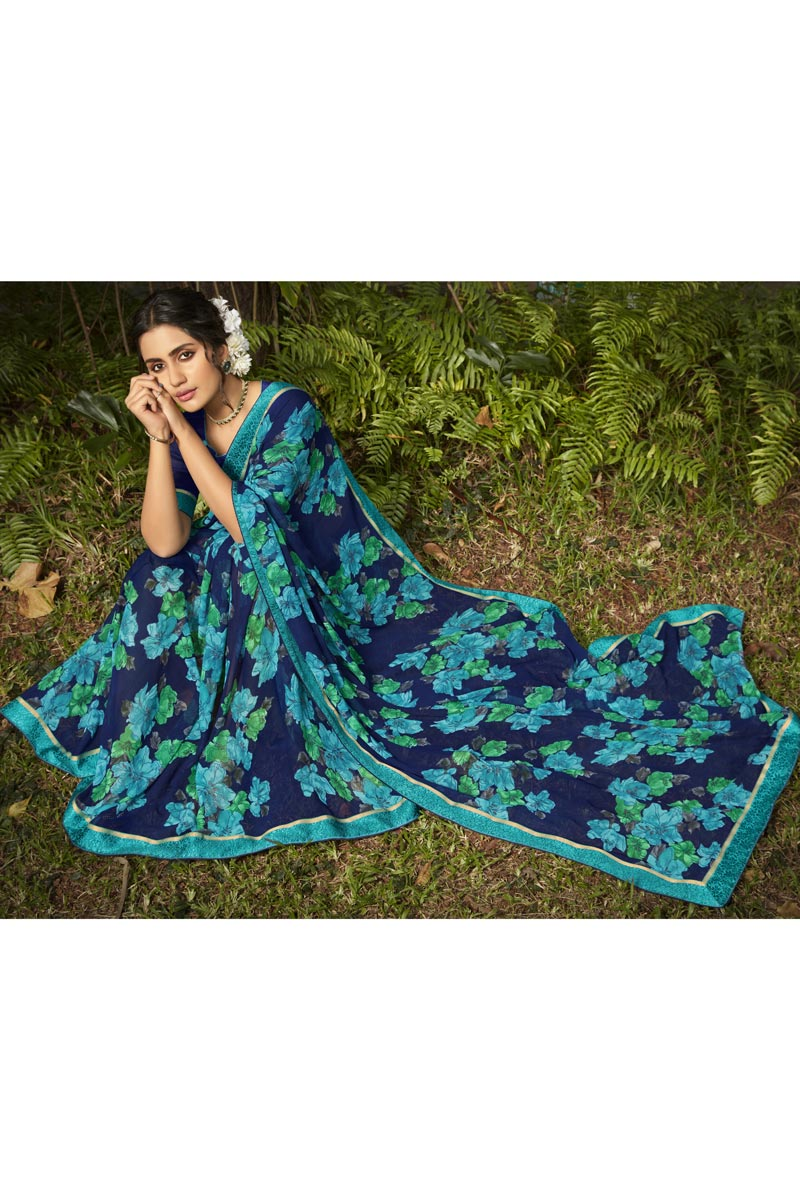 Daily Wear Georgette Fabric Fancy Printed Saree In Navy Blue Color