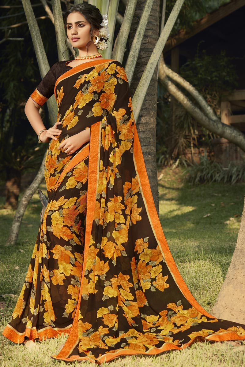 Brown Color Daily Wear Fancy Printed Saree In Georgette Fabric