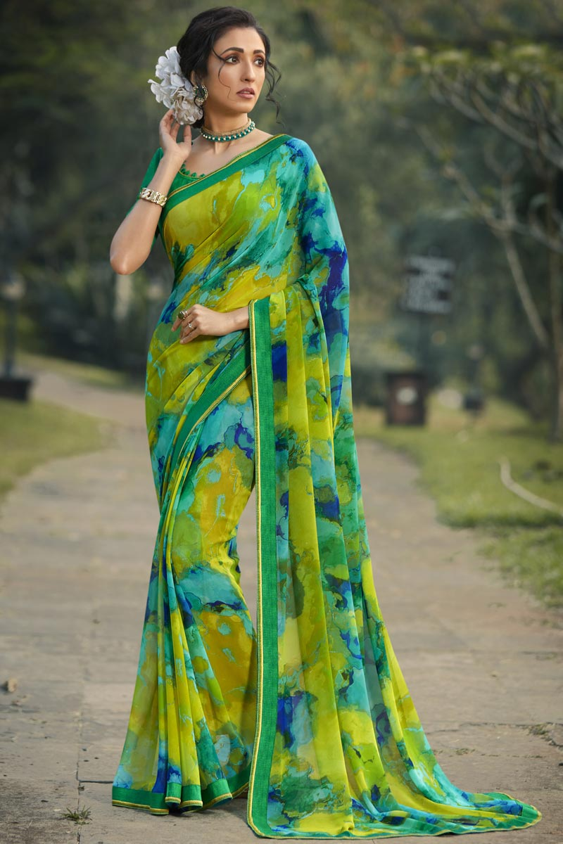 Green Color Daily Wear Georgette Fabric Fancy Printed Saree