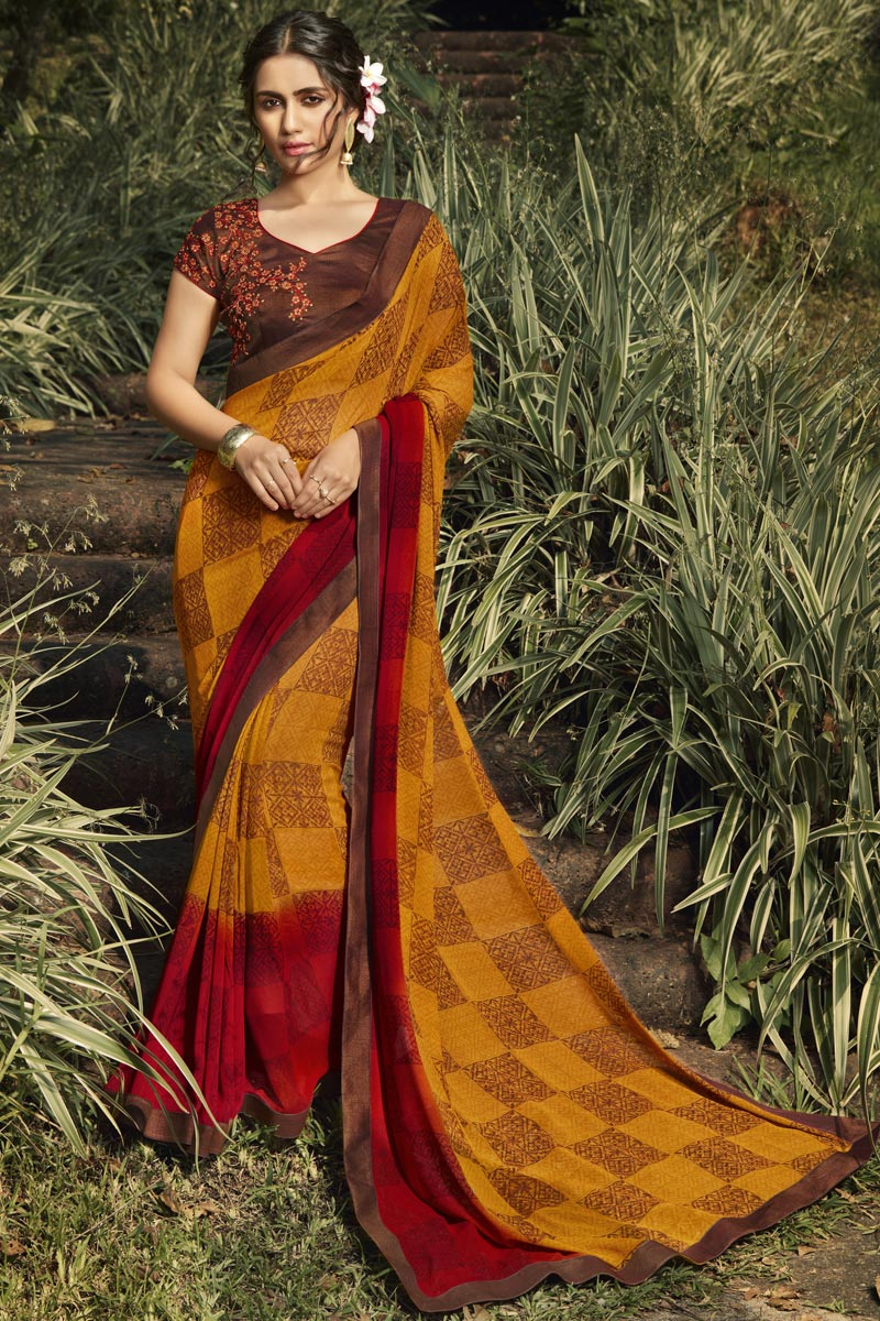 Georgette Fabric Daily Wear Fancy Mustard Color Printed Saree