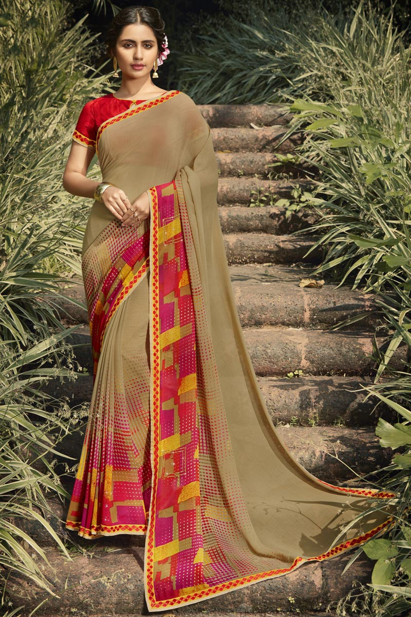 Daily Wear Georgette Fabric Fancy Dark Beige Color Printed Saree