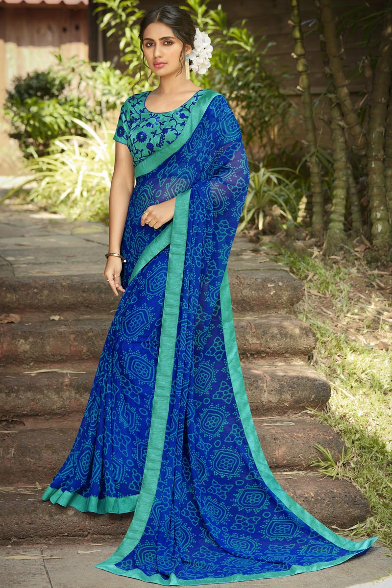 Daily Wear Blue Color Fancy Printed Saree In Georgette Fabric