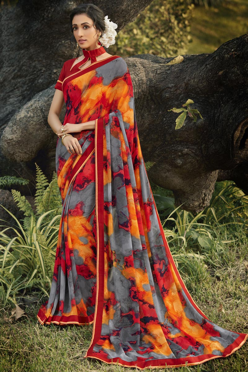 Georgette Fabric Daily Wear Fancy Printed Saree In Grey Color