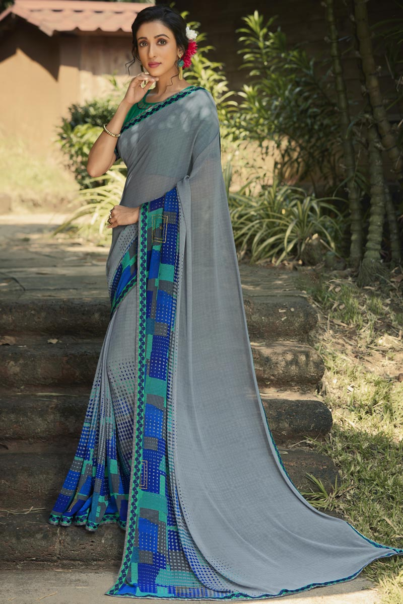 Grey Color Fancy Daily Wear Georgette Fabric Printed Saree