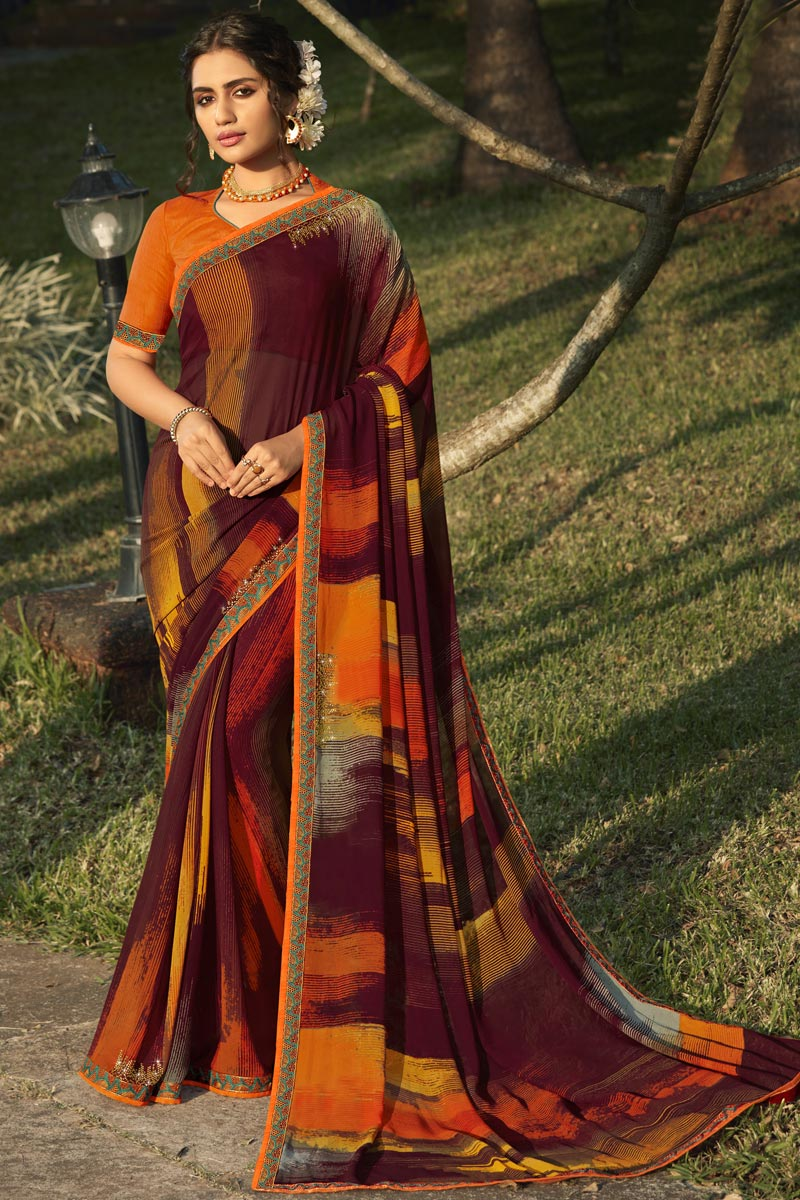 Daily Wear Wine Color Fancy Georgette Fabric Printed Saree