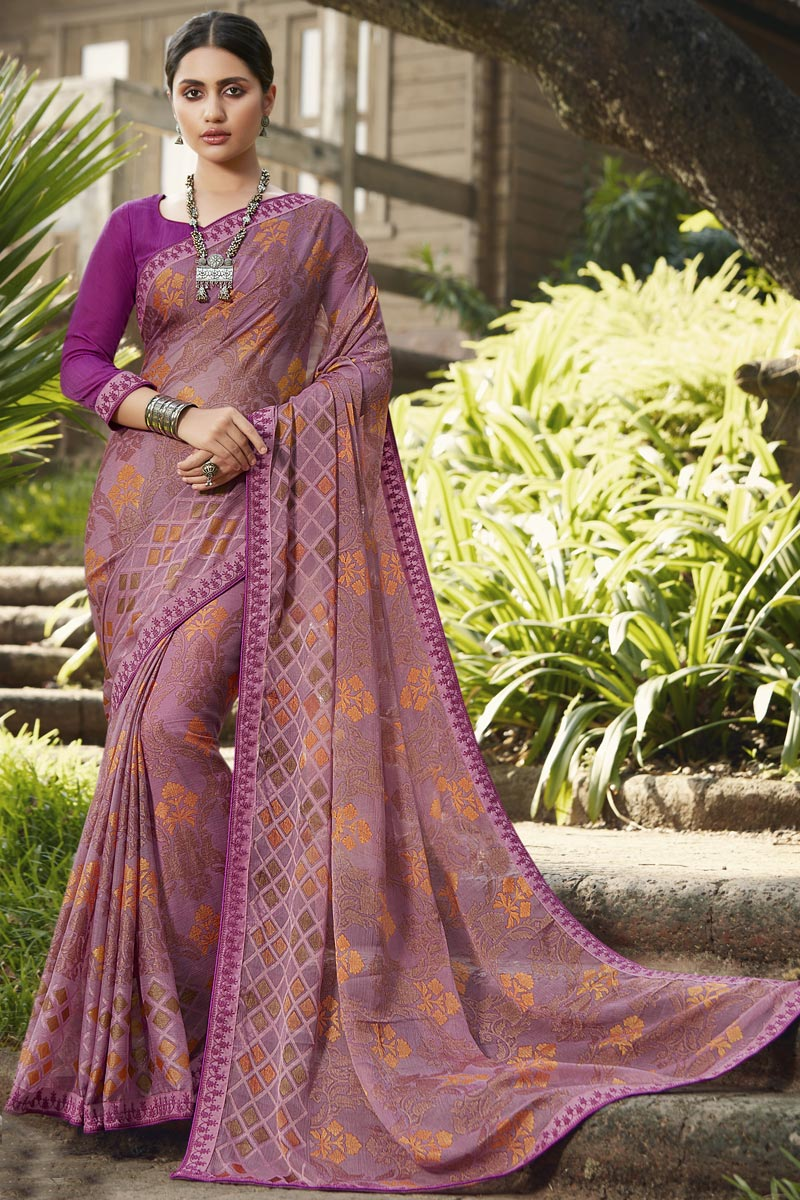 Brasso Fabric Fancy Festive Wear Pink Color Printed Saree