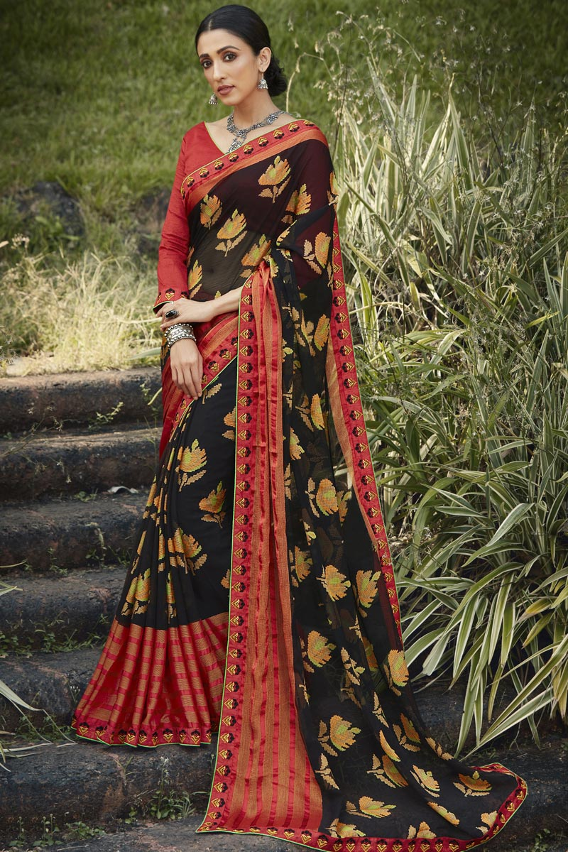 Black Color Festive Wear Brasso Fabric Fancy Printed Saree