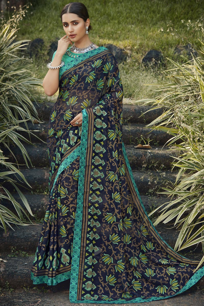 Festive Wear Navy Blue Color Fancy Printed Saree In Brasso Fabric