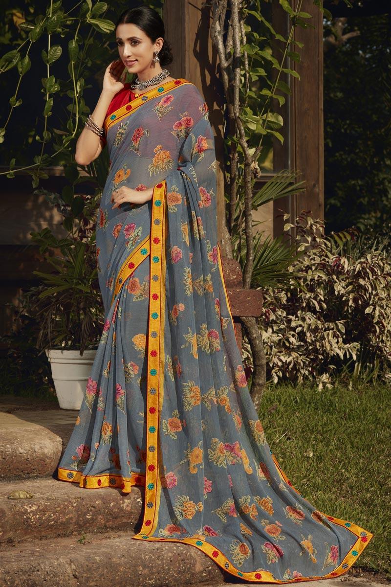 Grey Color Fancy Festive Wear Brasso Fabric Printed Saree