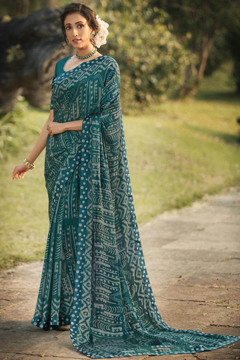 Teal Color Regular Wear Fancy Printed Saree In Georgette Silk Fabric