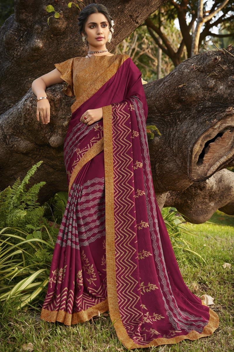 Georgette Silk Fabric Fancy Regular Wear Wine Color Printed Saree