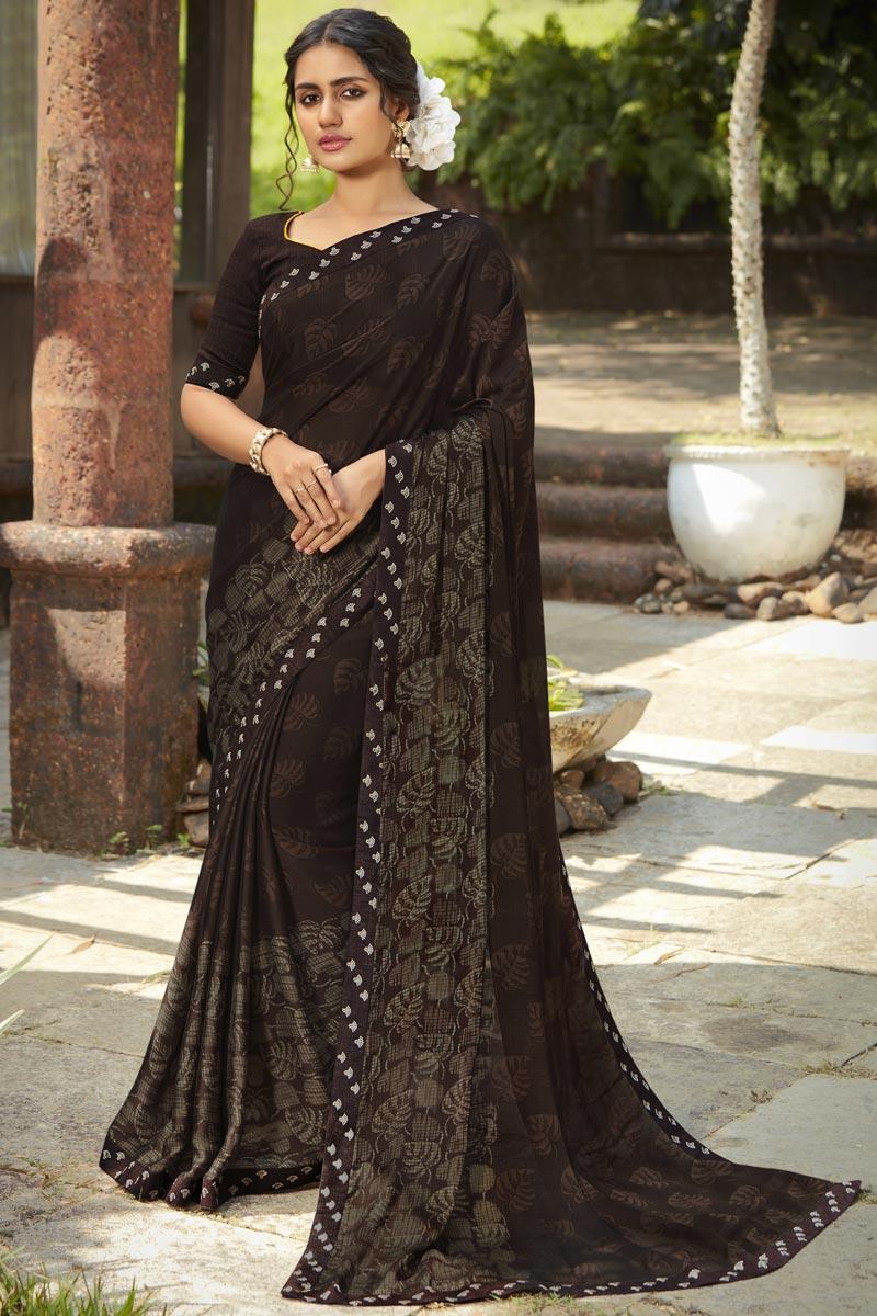 Brown Color Regular Wear Georgette Silk Fabric Fancy Printed Saree