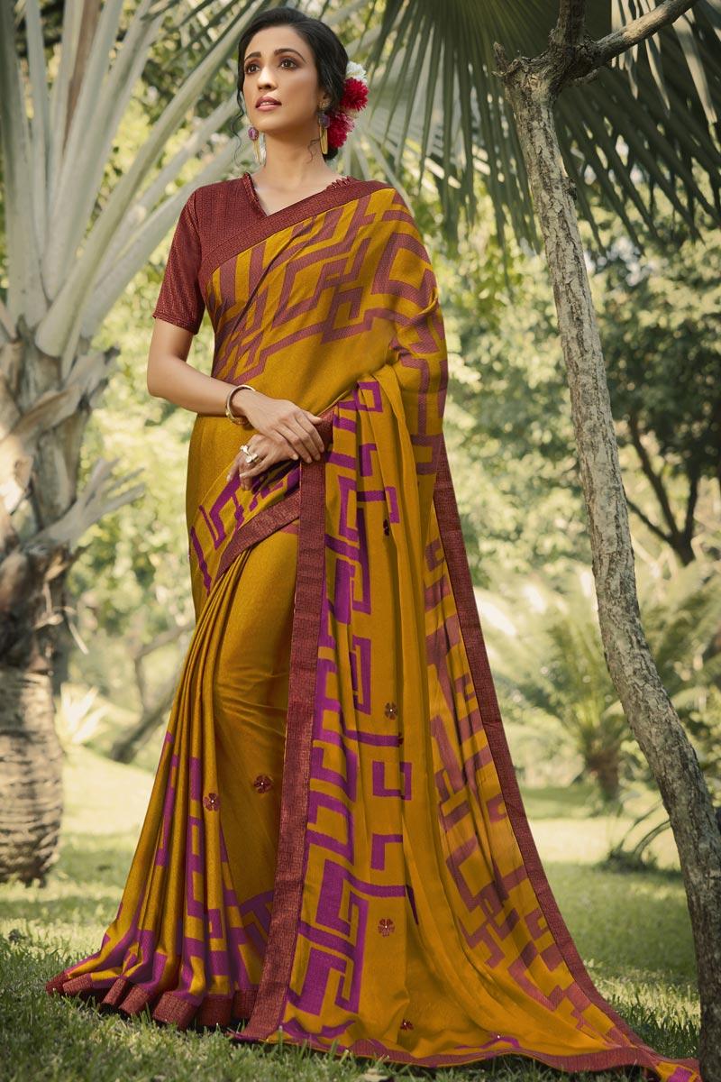 Georgette Silk Fabric Regular Wear Fancy Mustard Color Printed Saree