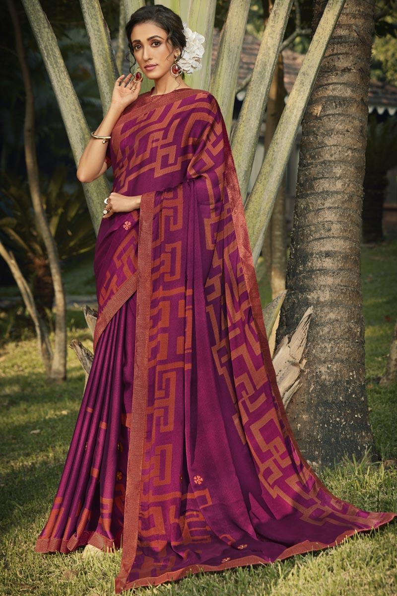 Regular Wear Georgette Silk Fabric Fancy Purple Color Printed Saree