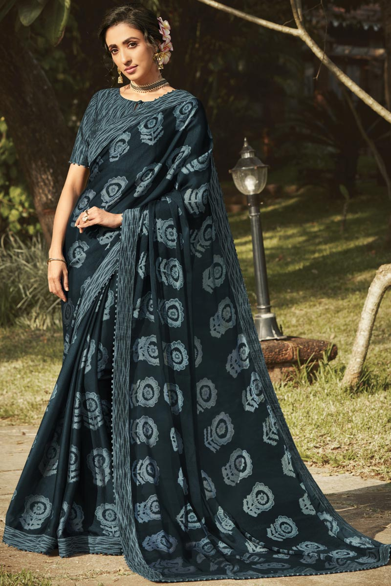 Regular Wear Dark Grey Color Fancy Printed Saree In Georgette Silk Fabric