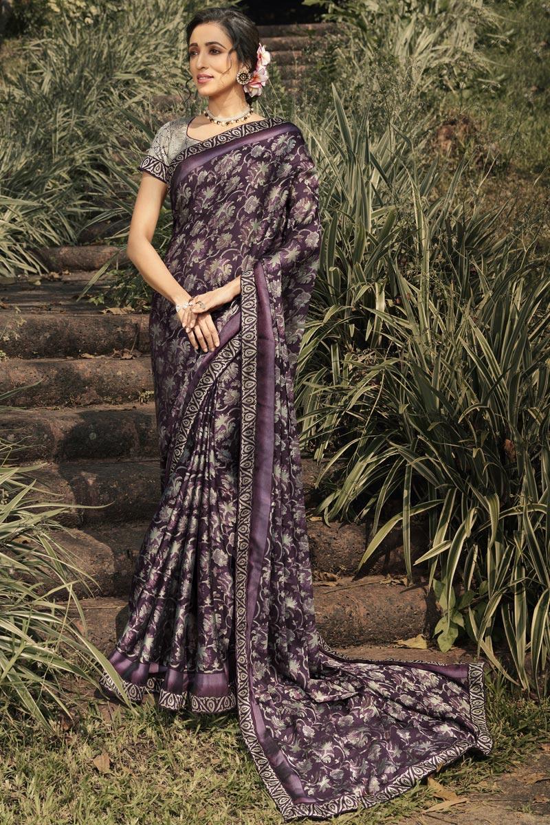 Georgette Silk Fabric Regular Wear Fancy Printed Saree In Wine Color