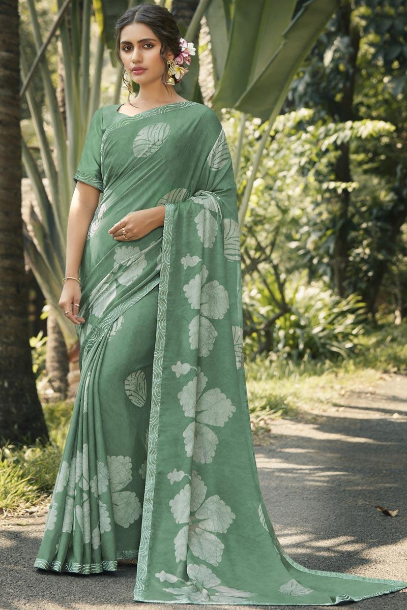 Sea Green Color Fancy Regular Wear Georgette Silk Fabric Printed Saree