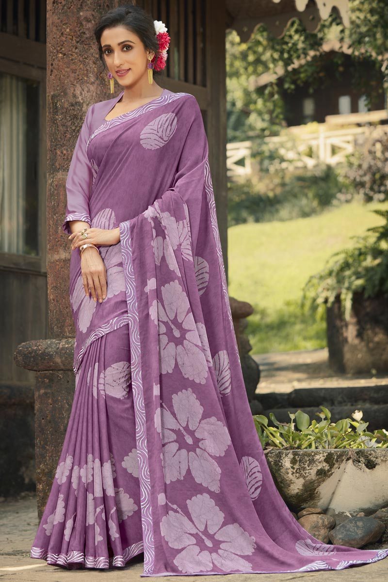 Georgette Silk Fabric Regular Wear Lavender Color Fancy Printed Saree