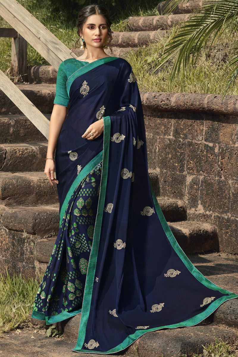 Navy Blue Color Regular Wear Fancy Georgette Silk Fabric Printed Saree