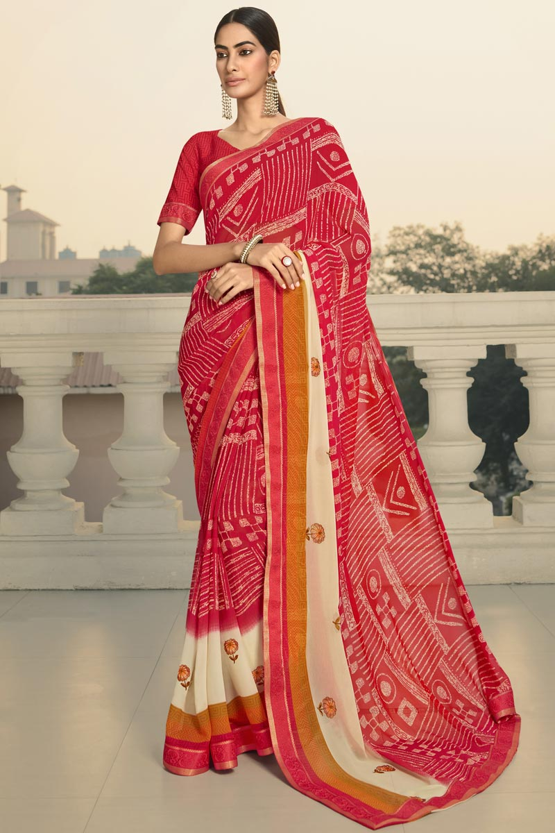 Daily Wear Georgette Fabric Fancy Printed Saree In Red Color