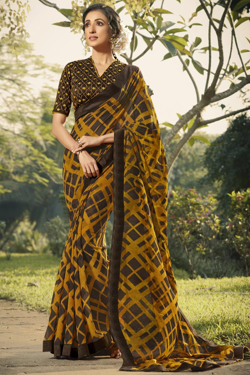Mustard Color Daily Wear Fancy Printed Saree In Georgette Fabric