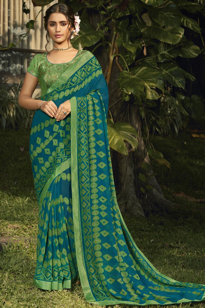Georgette Fabric Fancy Daily Wear Teal Color Printed Saree