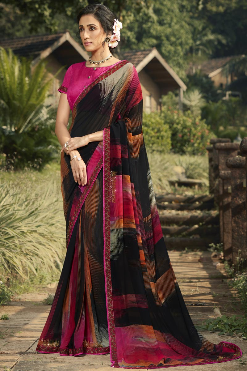 Black Color Daily Wear Georgette Fabric Fancy Printed Saree