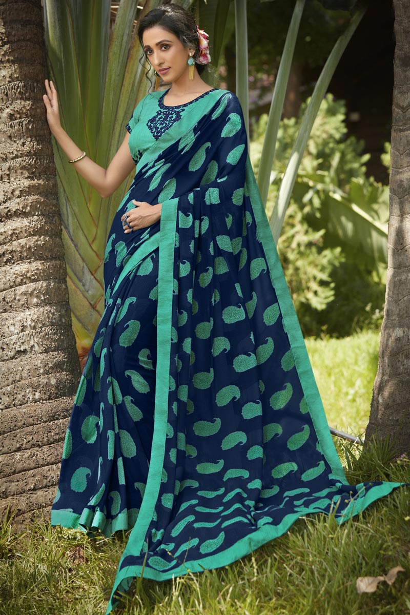 Georgette Fabric Daily Wear Fancy Navy Blue Color Printed Saree