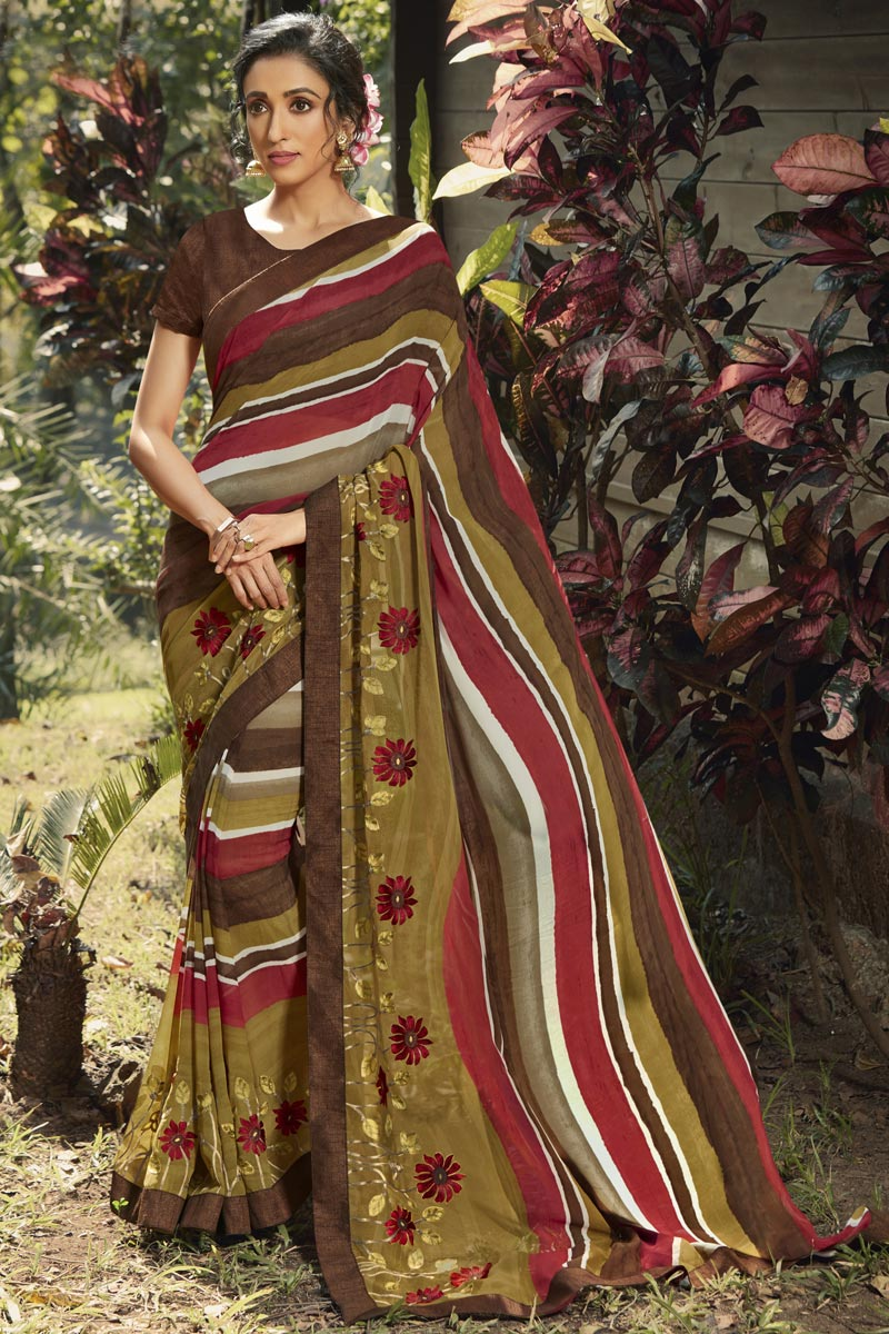Daily Wear Multi Color Fancy Printed Saree In Georgette Fabric