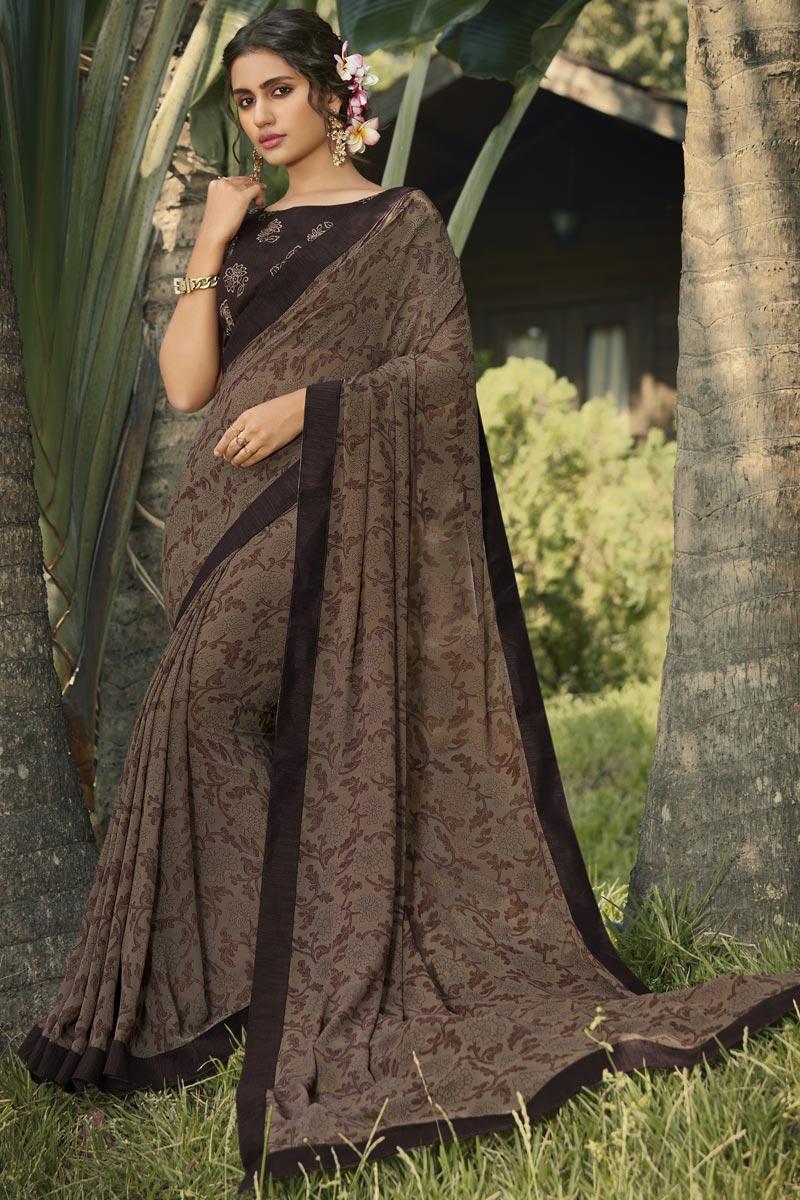 Georgette Fabric Daily Wear Fancy Printed Saree In Dark Beige Color