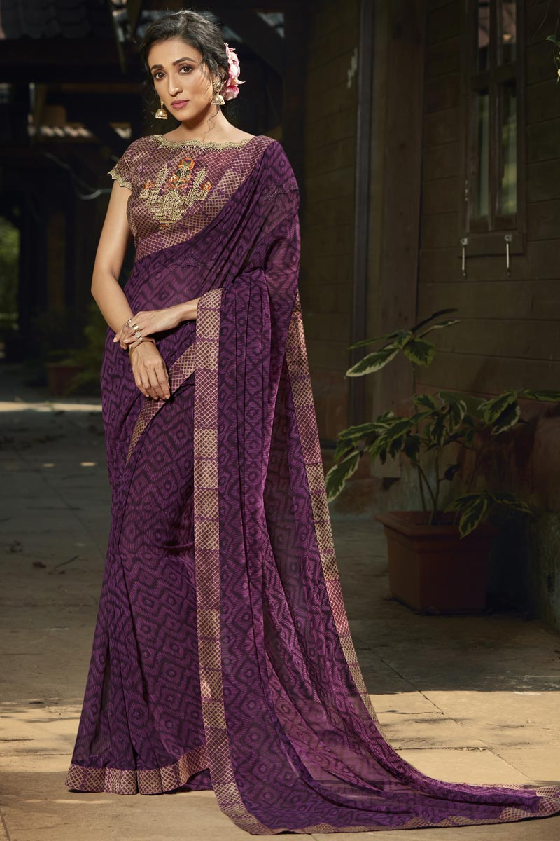 Purple Color Fancy Daily Wear Georgette Fabric Printed Saree