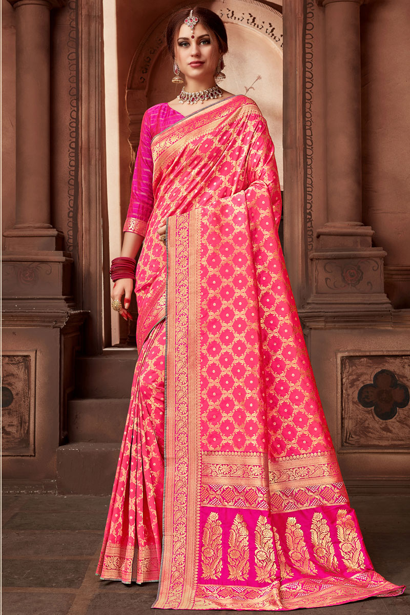 Weaving Work On Silk Fabric Pink Party Wear Saree With Amazing Blouse