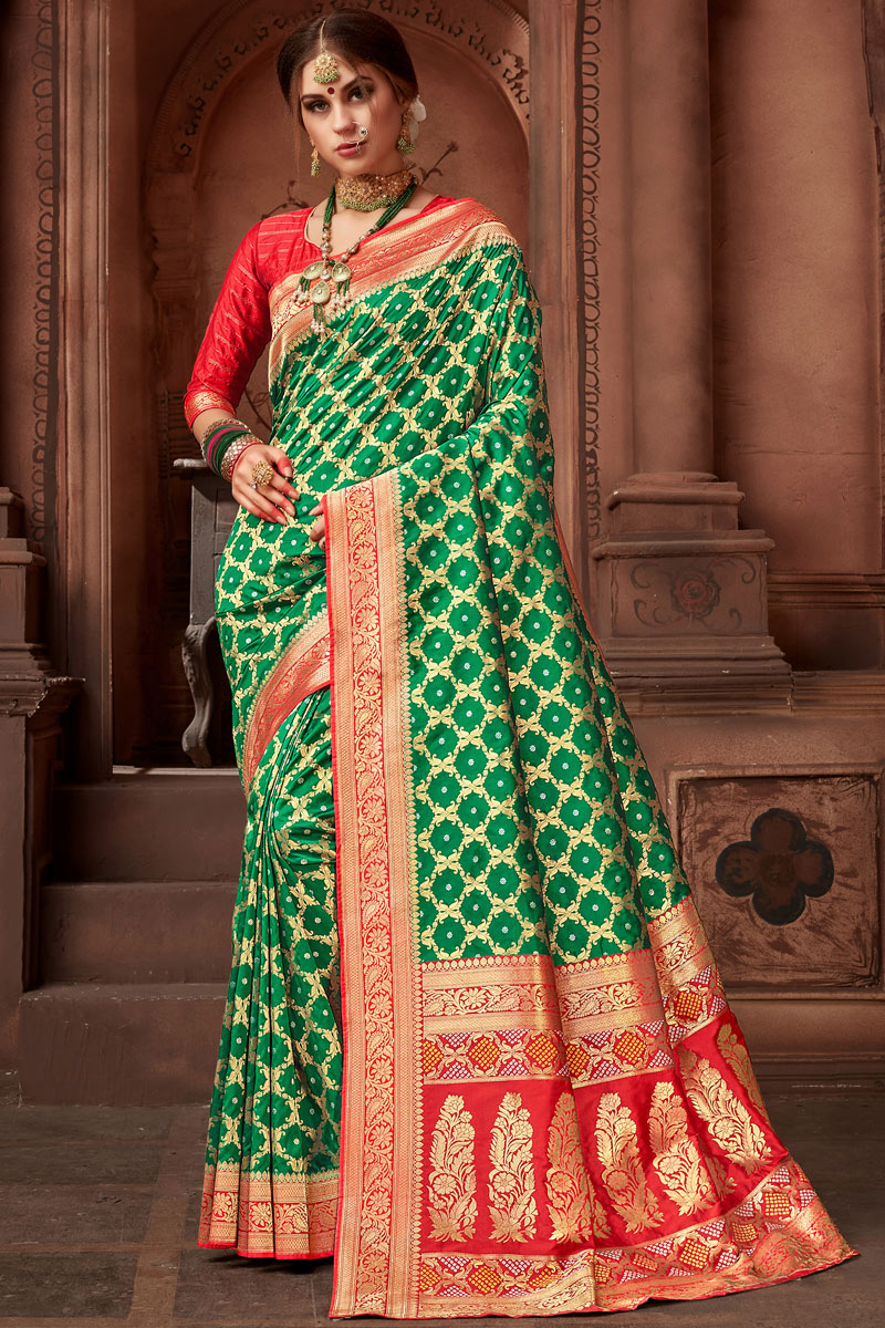 Silk Fabric Green Function Wear Saree With Weaving Work And Astounding Blouse