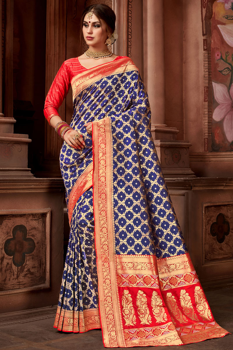 Weaving Work On Occasion Wear Saree In Silk Fabric With Designer Blouse