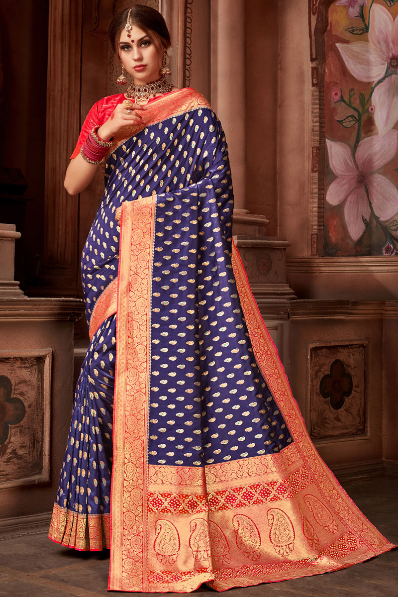 Weaving Work On Reception Wear Saree In Blue Silk Fabric With Charming Blouse