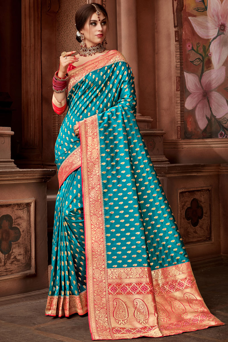 Weaving Work On Silk Fabric Designer Saree In Cyan Color With Admirable Blouse
